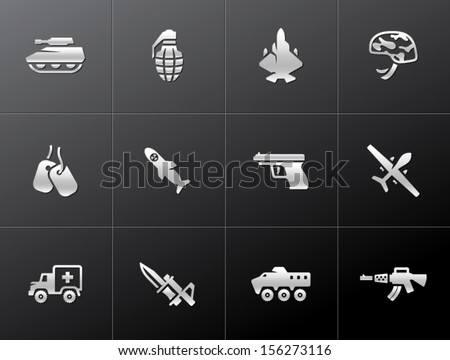 Military icons in metallic style - stock vector