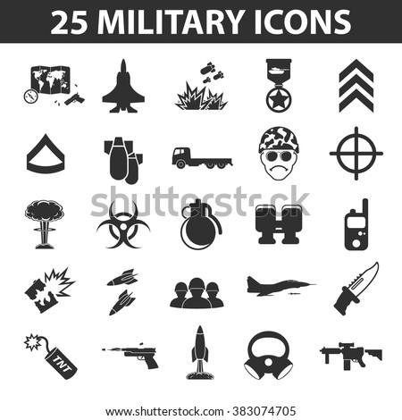 military icons set military