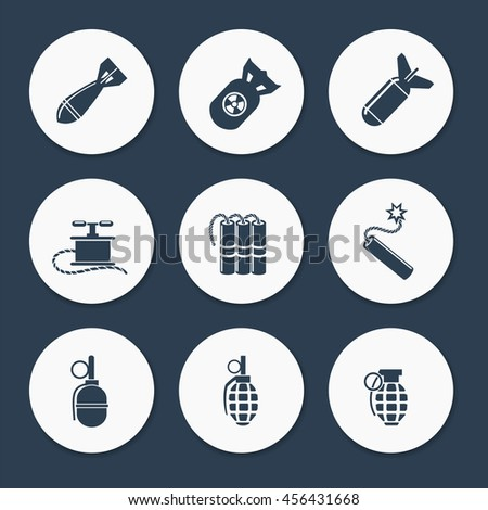 military icons set vector flat