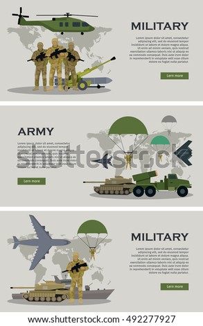 military infographic banners