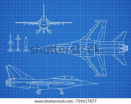 military jet aircraft drawing