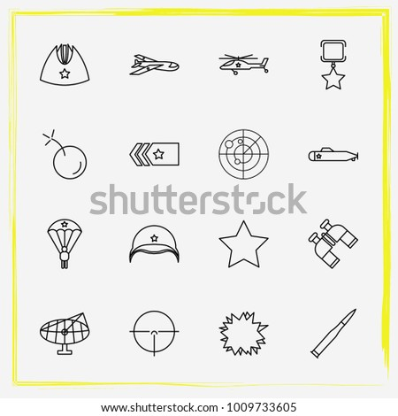 military line icon set