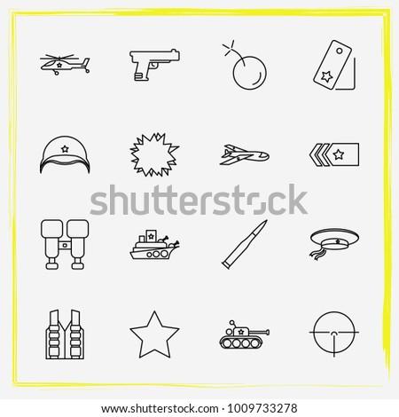 military line icon set military