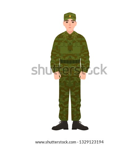 Military man of Russian armed force wearing camouflage army uniform. Soldier, conscript or infantryman isolated on white background. Male cartoon character. Vector illustration in flat cartoon style. Stock photo ©