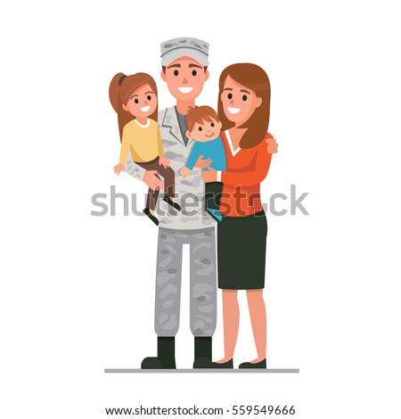military man with his family