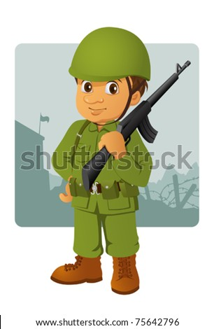 military man with his rifle