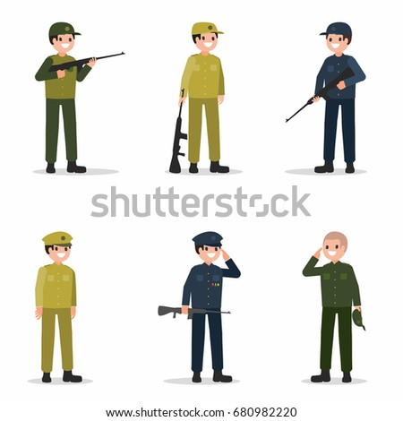 military men set with weapon in