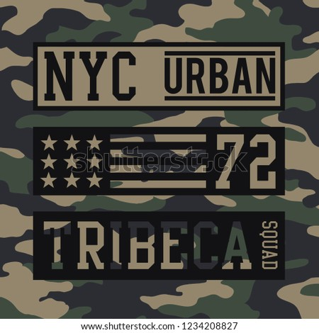 Military NYC urban typography, tee shirt graphics, vectors