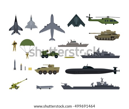 Military resources army icons set. War and ammunition, trunk airplane vehicle submarine army and bullet, ammo weapon, inventory gun, rocket and bazooka, automatic and launch, war ship. Vector