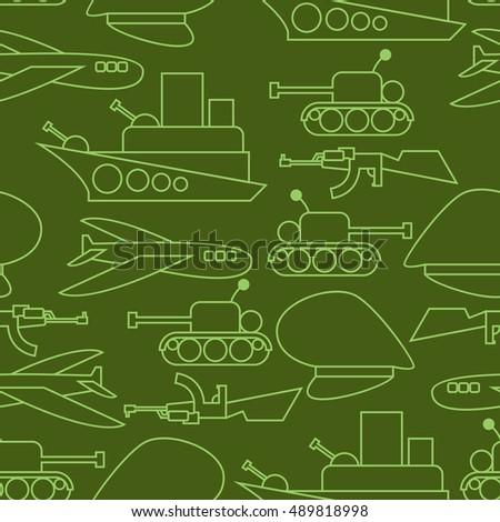 military seamless pattern ship