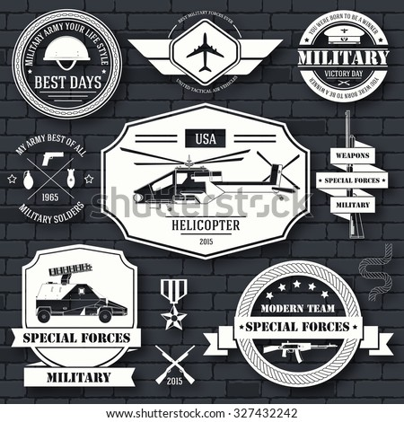 military set label template of
