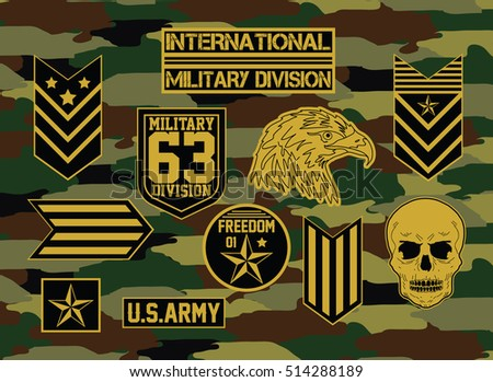 Military set of army badge   typography, t-shirt graphics, vectors