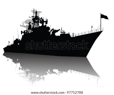 Military ship vector silhouette with reflection. Highly detailed