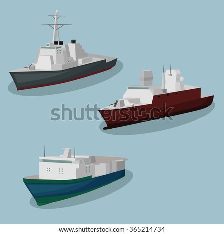 military ships vector image