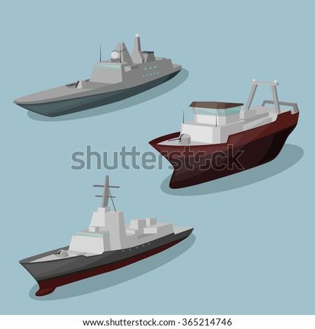military ships vector image
