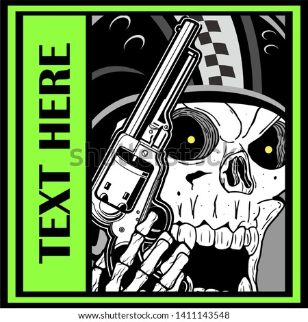 military skull holding a gun.vector hand drawing skull vector hand drawing.Shirt designs, biker, disk jockey, gentleman, barber and many others.isolated and easy to edit. Vector Illustration - Vector Foto stock ©