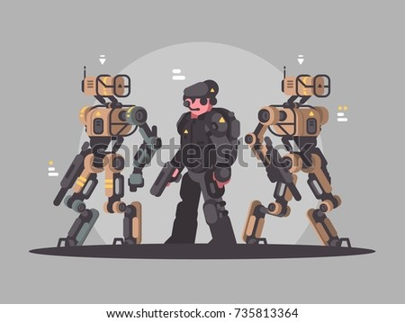 Military soldier drone and man. Army latest technology, vector illustration