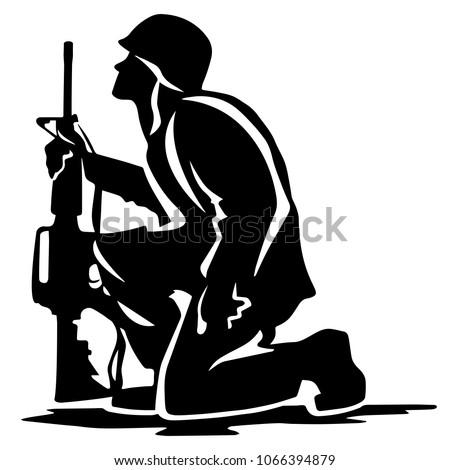 military soldier kneeling