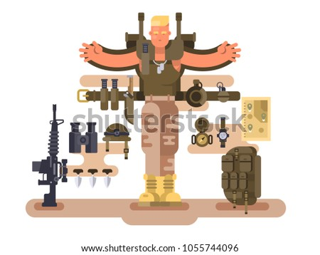 Military soldier rookie and ammunition design flat. Backpack and weapon army, belt with knife and grenade. Vector illustration