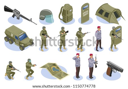 Military special forces set of isometric icons with soldiers in uniform and armament elements isolated vector illustration
