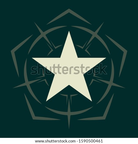 Military Star. Army Chevron. Rank Insignia. Sign, Icon, Logo and Badge. Vector Isolated