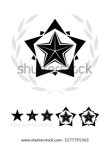 Military Star with Wreath. Army Chevron. Rank Insignia. Sign, Icon, Logo and Badge. Vector Isolated