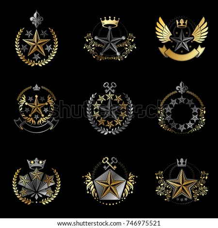Military Stars emblems set. Heraldic vector design elements collection. Retro style label, heraldry logo.