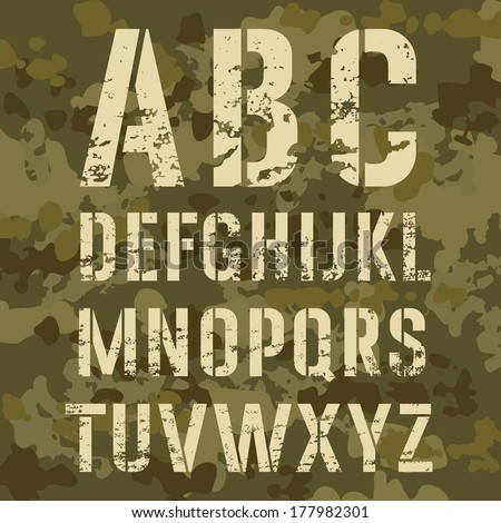 military stencil alphabet on a