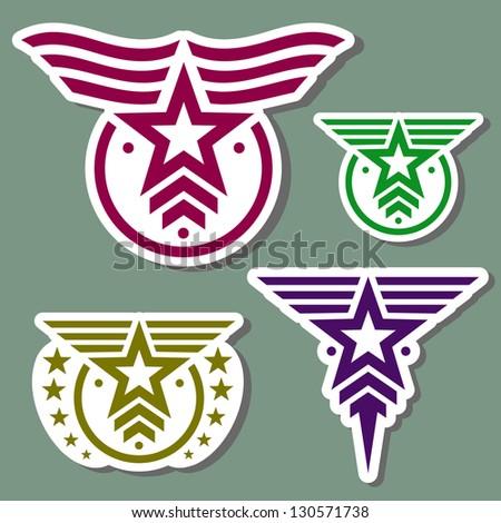 Military style logo set on camo green background