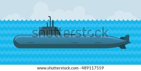 military submarine under water