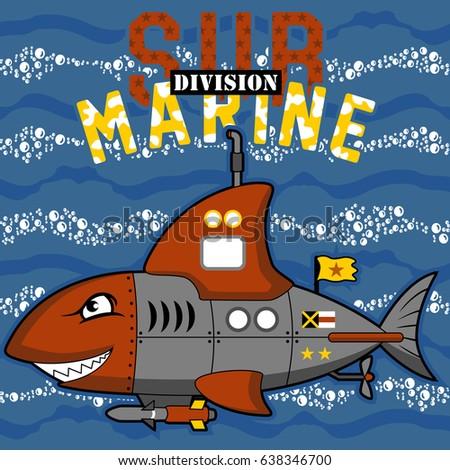 military submarine with shark