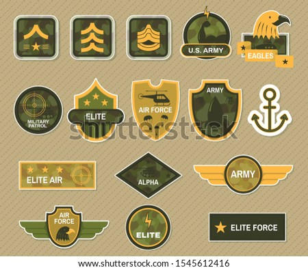 Military symbol and army badge set. Army signs and badges different branches and types of troops army apparel signs naval insignia vector illustration