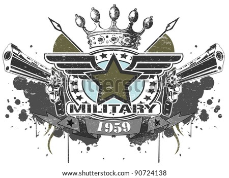 military symbol with pistols