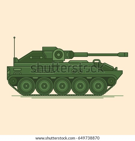 military tank vector line