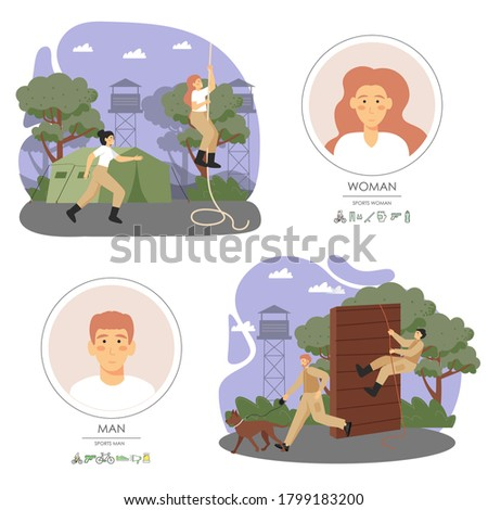 Military training composition set, flat vector illustration. Army soldiers male and female characters, climbing over obstacle, rope, running. Military dog training, workout, obstacle course, boot camp Stock photo ©