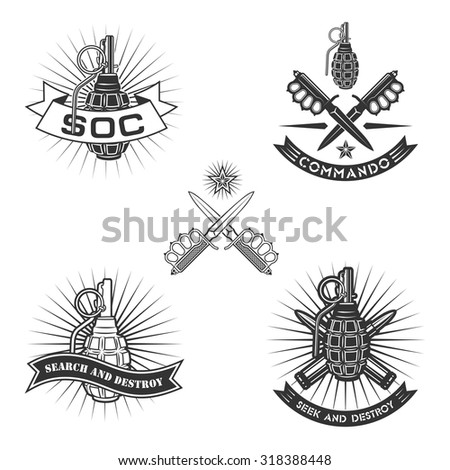 military vector emblem with