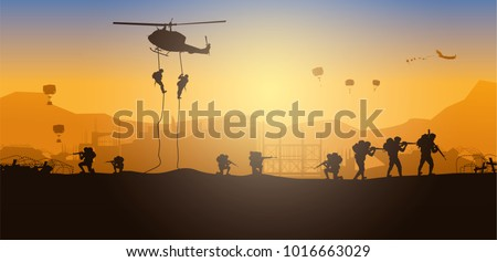 Military vector illustration, Army background, soldiers silhouettes, Artillery, Cavalry, Airborne.