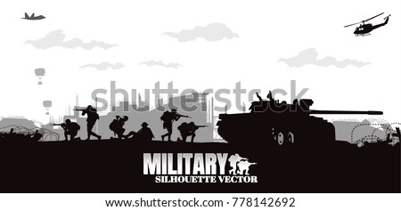 Military vector illustration, Army soldiers, Military silhouettes background.