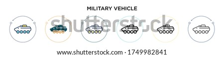 military vehicle icon in filled