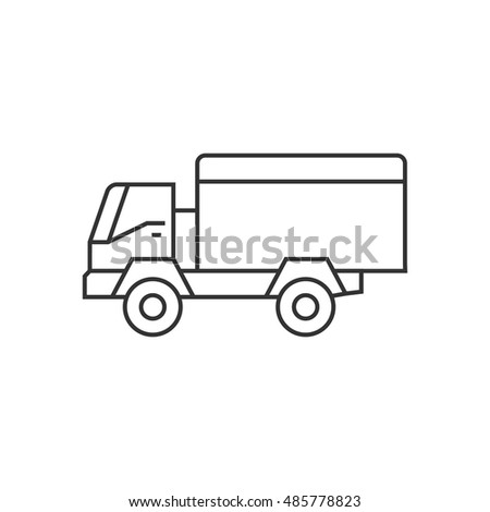 military vehicle icon in thin