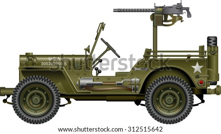military vehicle with mounted