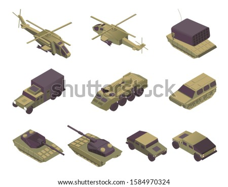 Military vehicles isometric vector illustrations set. Modern army transport, armored aircrafts, personal carriers and heavy weapons. Helicopters, APC, rocket missile launcher, truck and tanks