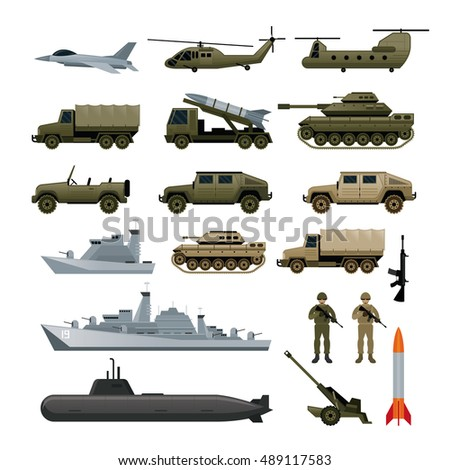 military vehicles object set
