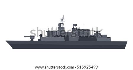 military warship vector coast