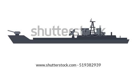 military warship vector coast