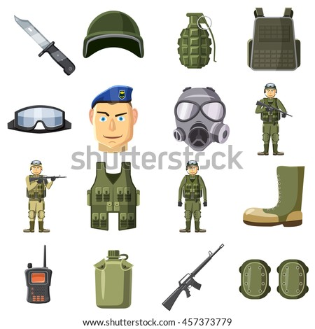 military weapon icons set in