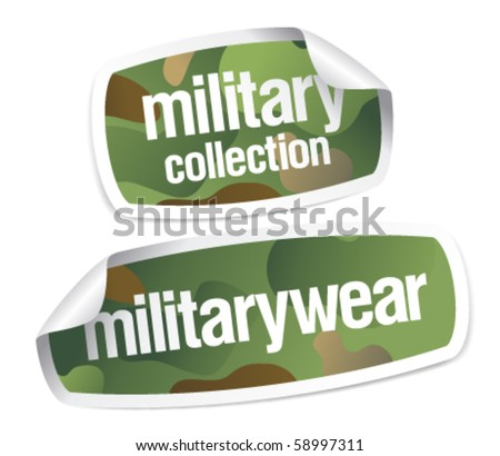 Military wear collection stickers set