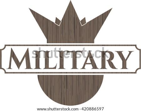 Military wooden emblem. Retro
