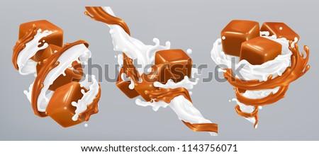 Milk and caramel splashes, 3d realistic vector ストックフォト ©