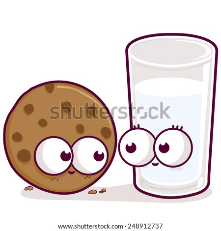 milk and cookie a cartoon